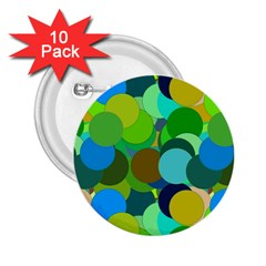 Green Aqua Teal Abstract Circles 2 25  Buttons (10 Pack)