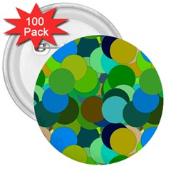 Green Aqua Teal Abstract Circles 3  Buttons (100 Pack)