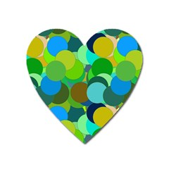 Green Aqua Teal Abstract Circles Heart Magnet