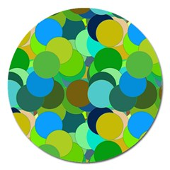 Green Aqua Teal Abstract Circles Magnet 5  (Round)