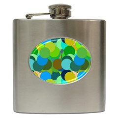 Green Aqua Teal Abstract Circles Hip Flask (6 oz)