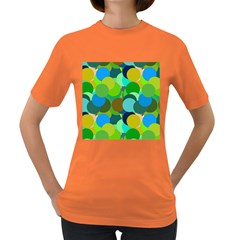 Green Aqua Teal Abstract Circles Women s Dark T-Shirt
