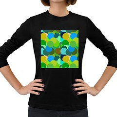 Green Aqua Teal Abstract Circles Women s Long Sleeve Dark T Shirts