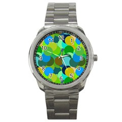 Green Aqua Teal Abstract Circles Sport Metal Watch