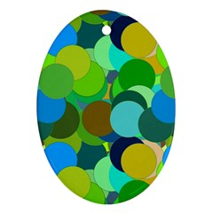 Green Aqua Teal Abstract Circles Oval Ornament (Two Sides)