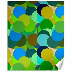 Green Aqua Teal Abstract Circles Canvas 16  X 20