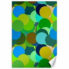 Green Aqua Teal Abstract Circles Canvas 20  x 30