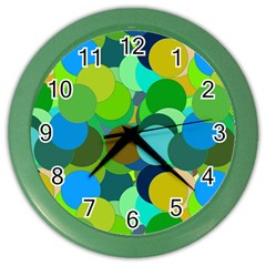Green Aqua Teal Abstract Circles Color Wall Clocks