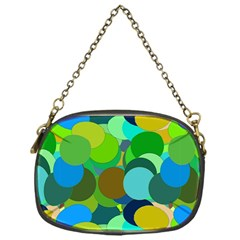 Green Aqua Teal Abstract Circles Chain Purses (one Side)