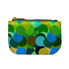 Green Aqua Teal Abstract Circles Mini Coin Purses