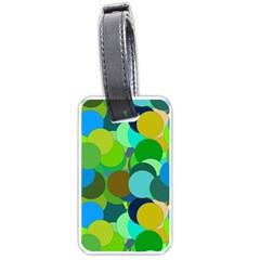 Green Aqua Teal Abstract Circles Luggage Tags (One Side)