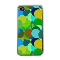 Green Aqua Teal Abstract Circles Apple iPhone 4 Case (Clear)