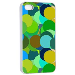 Green Aqua Teal Abstract Circles Apple iPhone 4/4s Seamless Case (White)