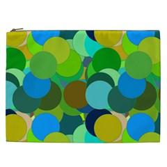 Green Aqua Teal Abstract Circles Cosmetic Bag (XXL)