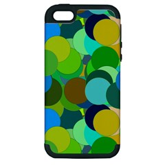 Green Aqua Teal Abstract Circles Apple iPhone 5 Hardshell Case (PC+Silicone)