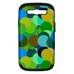 Green Aqua Teal Abstract Circles Samsung Galaxy S III Hardshell Case (PC+Silicone)