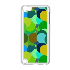 Green Aqua Teal Abstract Circles Apple iPod Touch 5 Case (White)