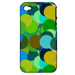 Green Aqua Teal Abstract Circles Apple iPhone 4/4S Hardshell Case (PC+Silicone)