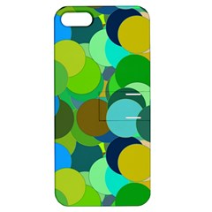 Green Aqua Teal Abstract Circles Apple iPhone 5 Hardshell Case with Stand