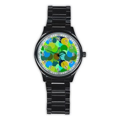 Green Aqua Teal Abstract Circles Stainless Steel Round Watch