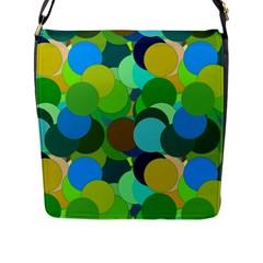 Green Aqua Teal Abstract Circles Flap Messenger Bag (l)