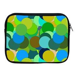 Green Aqua Teal Abstract Circles Apple iPad 2/3/4 Zipper Cases