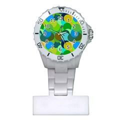 Green Aqua Teal Abstract Circles Plastic Nurses Watch