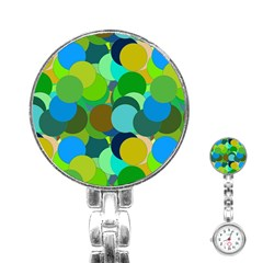Green Aqua Teal Abstract Circles Stainless Steel Nurses Watch