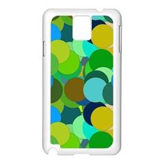 Green Aqua Teal Abstract Circles Samsung Galaxy Note 3 N9005 Case (White)