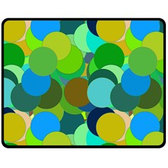Green Aqua Teal Abstract Circles Double Sided Fleece Blanket (Medium)