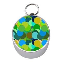 Green Aqua Teal Abstract Circles Mini Silver Compasses