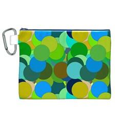 Green Aqua Teal Abstract Circles Canvas Cosmetic Bag (XL)