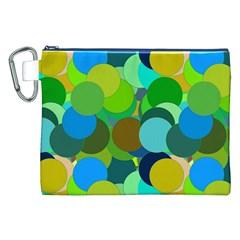 Green Aqua Teal Abstract Circles Canvas Cosmetic Bag (XXL)