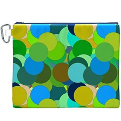 Green Aqua Teal Abstract Circles Canvas Cosmetic Bag (XXXL)