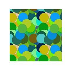 Green Aqua Teal Abstract Circles Small Satin Scarf (Square)