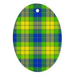 Spring Plaid Yellow Ornament (Oval)