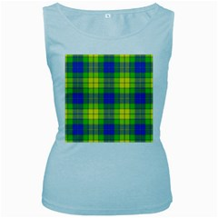 Spring Plaid Yellow Women s Baby Blue Tank Top