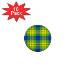 Spring Plaid Yellow 1  Mini Buttons (10 Pack)