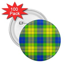 Spring Plaid Yellow 2.25  Buttons (100 pack)