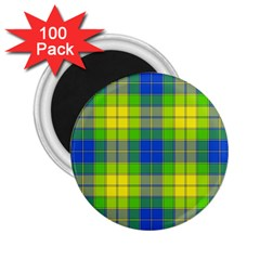 Spring Plaid Yellow 2 25  Magnets (100 Pack)
