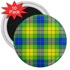 Spring Plaid Yellow 3  Magnets (10 pack)