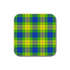 Spring Plaid Yellow Rubber Square Coaster (4 Pack)
