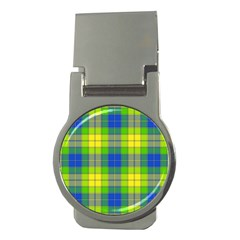 Spring Plaid Yellow Money Clips (round)