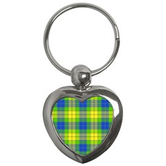 Spring Plaid Yellow Key Chains (Heart)
