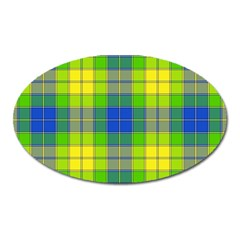 Spring Plaid Yellow Oval Magnet