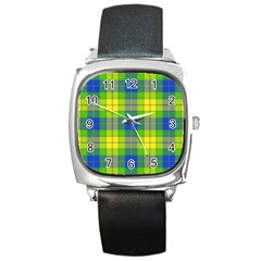 Spring Plaid Yellow Square Metal Watch