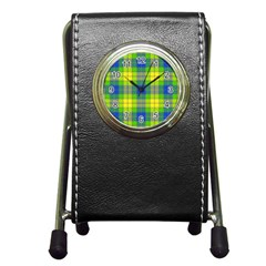 Spring Plaid Yellow Pen Holder Desk Clocks