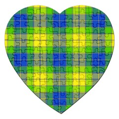 Spring Plaid Yellow Jigsaw Puzzle (heart)