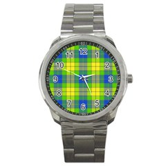Spring Plaid Yellow Sport Metal Watch