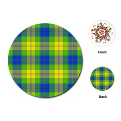Spring Plaid Yellow Playing Cards (round)